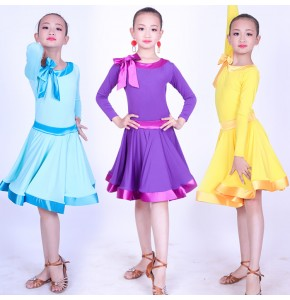 Girls competition latin dress for kids children violet yellow blue stage performance rumba salsa chacha samba dancing dress