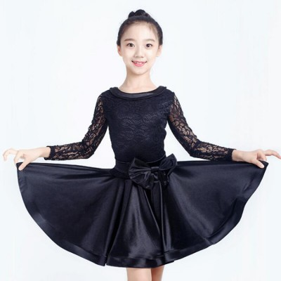 Girls competition latin dresses for children green black red lace  stage performance salsa rumba chacha dance skirt dresses