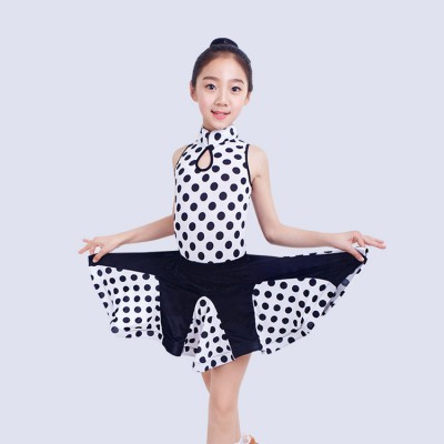 Girls competition latin dresses kids child white and black polka dot stage performance salsa rumba chacha dancing dresses