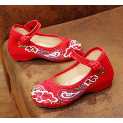 Girls  embroidered chinese folk performance clothing shoes kids fairy princess hanfu tang dynasty empress cosplay shoes