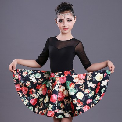 Girls floral latin dresses competition stage performance salsa chacha rumba dresses