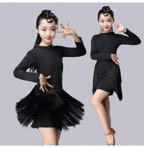 Girls fringes latin dresses competition stage performance professional rumba chacha salsa dancing costumes