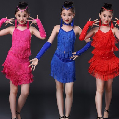 Girls fringes latin dresses red blue pink kids competition stage performance salsa chacha rumba dancing tops and skirts