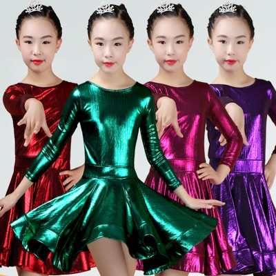 Girls glitter dark green fuchsia  blue competition latin dance dresses salsa dance dress