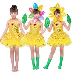 Girls halloween christmas party sun flowers modern dance dresses  stage performance sun flowers cosplay costumes dresses