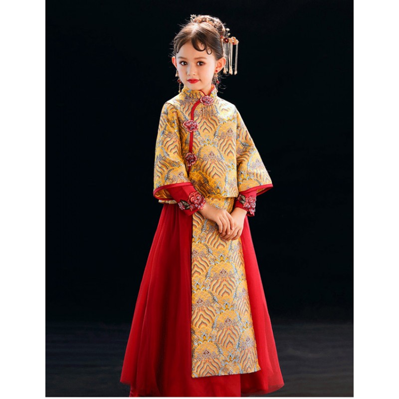 Chinese Wedding Dress.Girls Hanfu Chinese Flower Girls Dresses Chinese Wedding Dresses Photography Show Cosplay Dresses