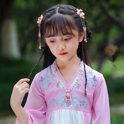 Girls hanfu chinese folk dance dresses headdress ancient traditional fairy anime drama cosplay hair accessories stage performance photos hair clip