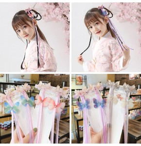 Girls hanfu fairy chinese folk dance costumes butterfly hair accessories hair clip stage performance drama fairy cosplay dresses headdress
