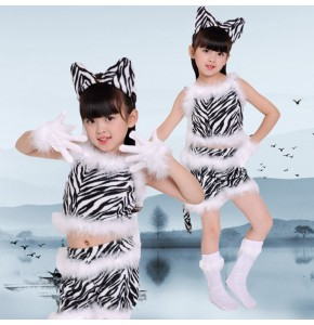 Girls jazz cartoon cat drama photos cosplay costumes modern dance stage performance dresses uniforms