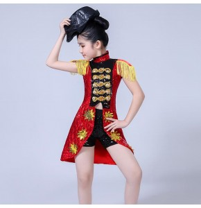 Girls jazz dance outfits street black red paillette modern dance hiphop video stage performance competition tuxedo tops and shorts