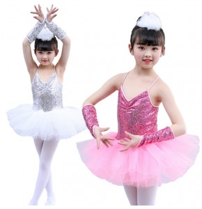 Girls jazz modern dance ballet dresses silver pink chorus choral stage performance costumes dress