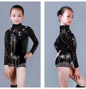 Girls jazz modern dance costumes black lace latin competition stage performance rumba chacha dance dress