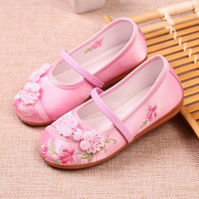 Girls kids baby chinese folk dance embroidered shoes fairy princess drama cosplay soft soles clothing shoes