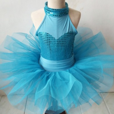 Girls kids blue ballet dance dress tutu skirt modern dance ballet costumes