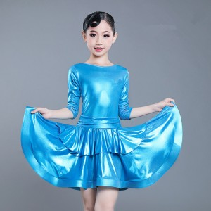 Girls kids blue latin dance dress kids children stage performance professional rumba chacha salsa dance skirts costumes dress