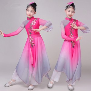 Girls kids children chinese folk dance costumes pink umbrella fan dress hanfu ancient classical fairy drama cosplay dresses