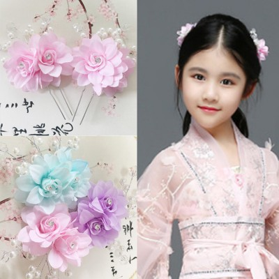 Girls kids children chinese folk dance  hair clip hair flowers stage performance fairy photography drama cosplay headdress