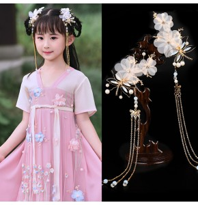 Girls kids chinese ancient folk dance hanfu hair accessories chinese traditional drama fairy princess empress hair clip headdress