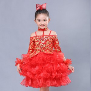 Girls kids chinese dresses china style kindergarten chorus singers carnival party stage performance dress costumes