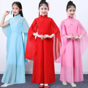 Girls kids chinese folk dance costumes fairy princess guzheng anime drama party stage performance cosplay dresses