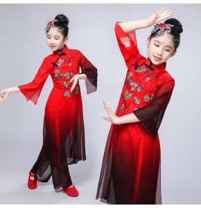 Girls kids Chinese folk dance costumes red colored ancient traditional yangko umrella fan dresses fairy stage performance tops and pants