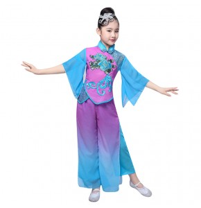 Girls kids chinese folk dance costumes umbrella fan dance dress blue with purple hanfu fairy ancient traditional drama cosplay dresses