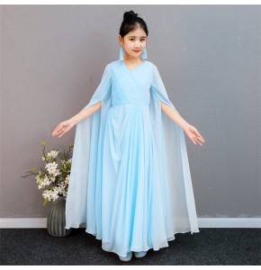 Girls kids chinese folk dance dress hanfu guzheng traditional fairy cosplay dresses classical dance water sleeves dresses