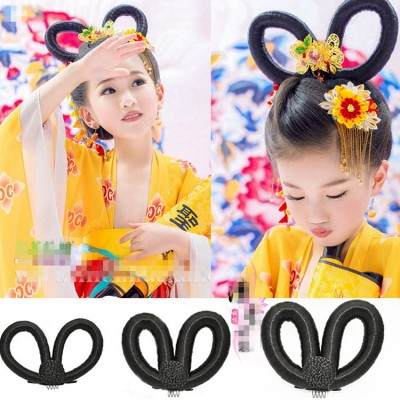 Girls kids chinese folk dance hair wig ancient traditional empress princess cosplay wig hair accessories