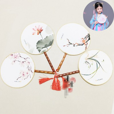 girls kids Chinese folk dance round fans stage performance ancient traditional fairy princess cosplay fans