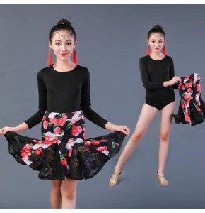 Girls kids floral latin dance dresses stage performance salsa rumba samba dance costumes dresses