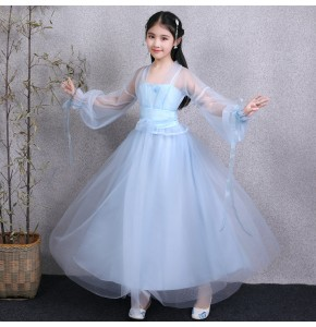 Girls  kids hanfu chinese folk dance costumes children tang dynasty princess fairy drama anime cosplay dresses