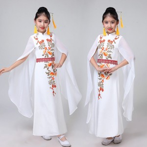 Girls kids hanfu chinese folk dance costumes white colored zheng ancient traditional classical dance fairy princess drama cosplay dress