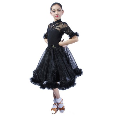 Girls kids lace ballroom dancing dresses stage performance kids children waltz tango dancing dress skirts costumes