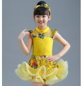 Girls kids latin dance dresses kids children school modern dance stage performance rumba salsa chacha dance skirts costumes