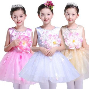 Girls kids modern dance jazz princess petal dresses flower girls ballet school show party cosplay ballet dresses