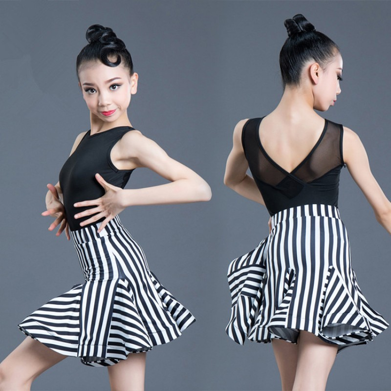 Girls kids modern dance latin dance dresses striped stage performance practice rumba salsa chacha dance dresses