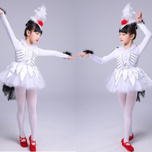 Girls kids modern dance white birds angel anime drama cosplay dresses costumes