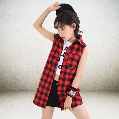Girls kids modern street hiphop dance shirts red plaid tops children stage performance costumes