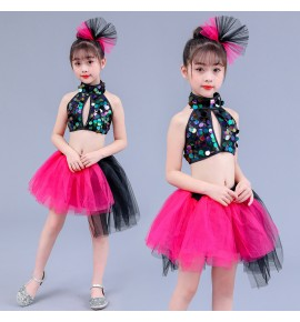 Girls kids rainbow sequin pink jazz dance costumes kindergarten school competition party perform fluffy skirts