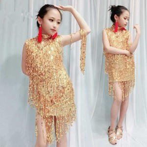 Girls kids red gold sequin fringes latin dance dresses salsa chacha dance dress