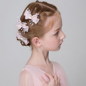 Girls kids stage performance  head flower lace bowknot  beadshair accessories girls princess evening party hair clip