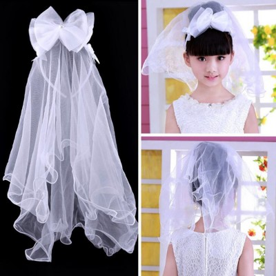 Girls kids wedding party head bow veil stage performance modern dance headdress hair accessories