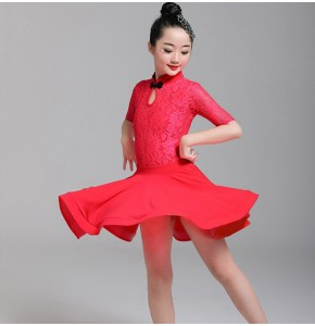 Girls lace latin dance dresses stage performance  leotard top and skirts competition professional samba chacha rumba dance dresses