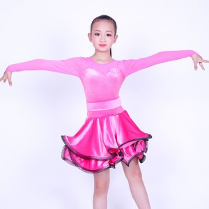 Girls latin ballroom dress velvet pink competition long sleeves stage performance professional rumba chacha salsa dancing costumes