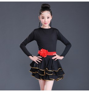 Girls latin dance dress competition stage performance salsa chacha ballroom dance dresses costumes