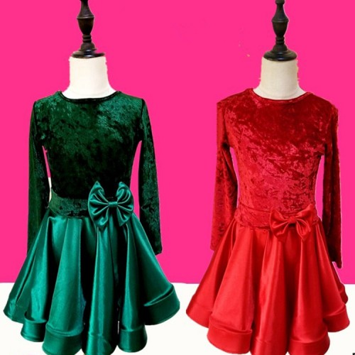 843138e1a67 ... Girls latin dance dresses children dark green red velvet long sleeves competition  ballroom dance dresses