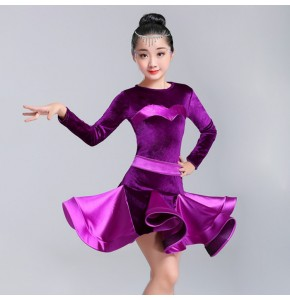 Girls latin dance dresses competition stage performance rumba salsa chacha children dance costumes skirts dresses