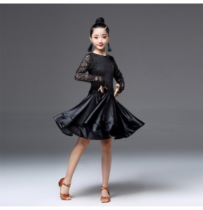 Girls latin dance dresses red purple black blue competition stage performance rumba salsa chacha dance skirts costumes dresses