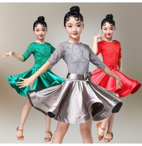 Girls latin dance dresses stage performance satin lace round neck competition latin samba rumba chacha salsa dance skirts dress