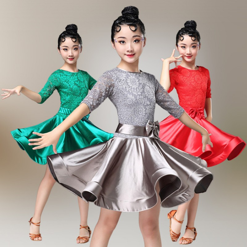 dc3a76651219 Girls latin dance dresses stage performance satin lace round neck ...